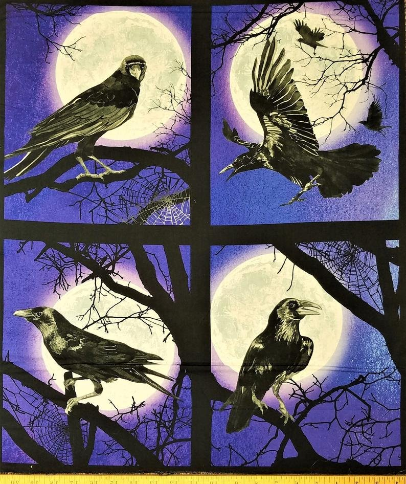 Raven Moon Ravens and Moons Block AWHD-18484-282 Spooky