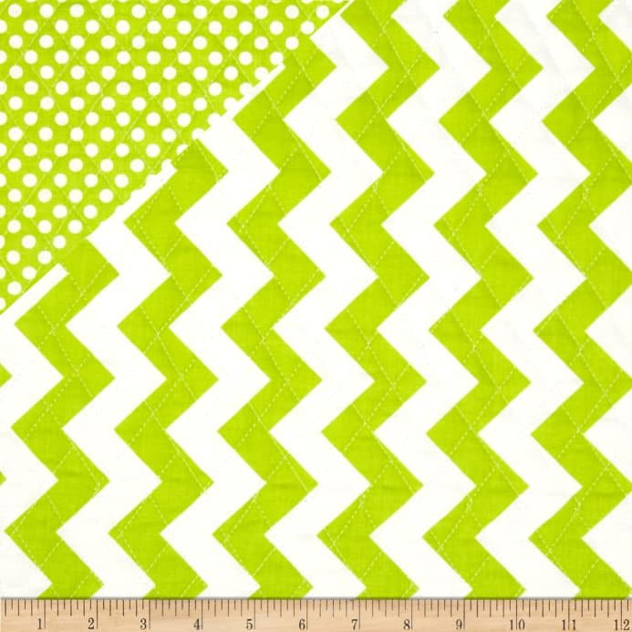 Quilted Cotton Medium Chevron Lime W/ Small Dots Lime