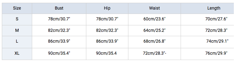 Size chart for rashguards