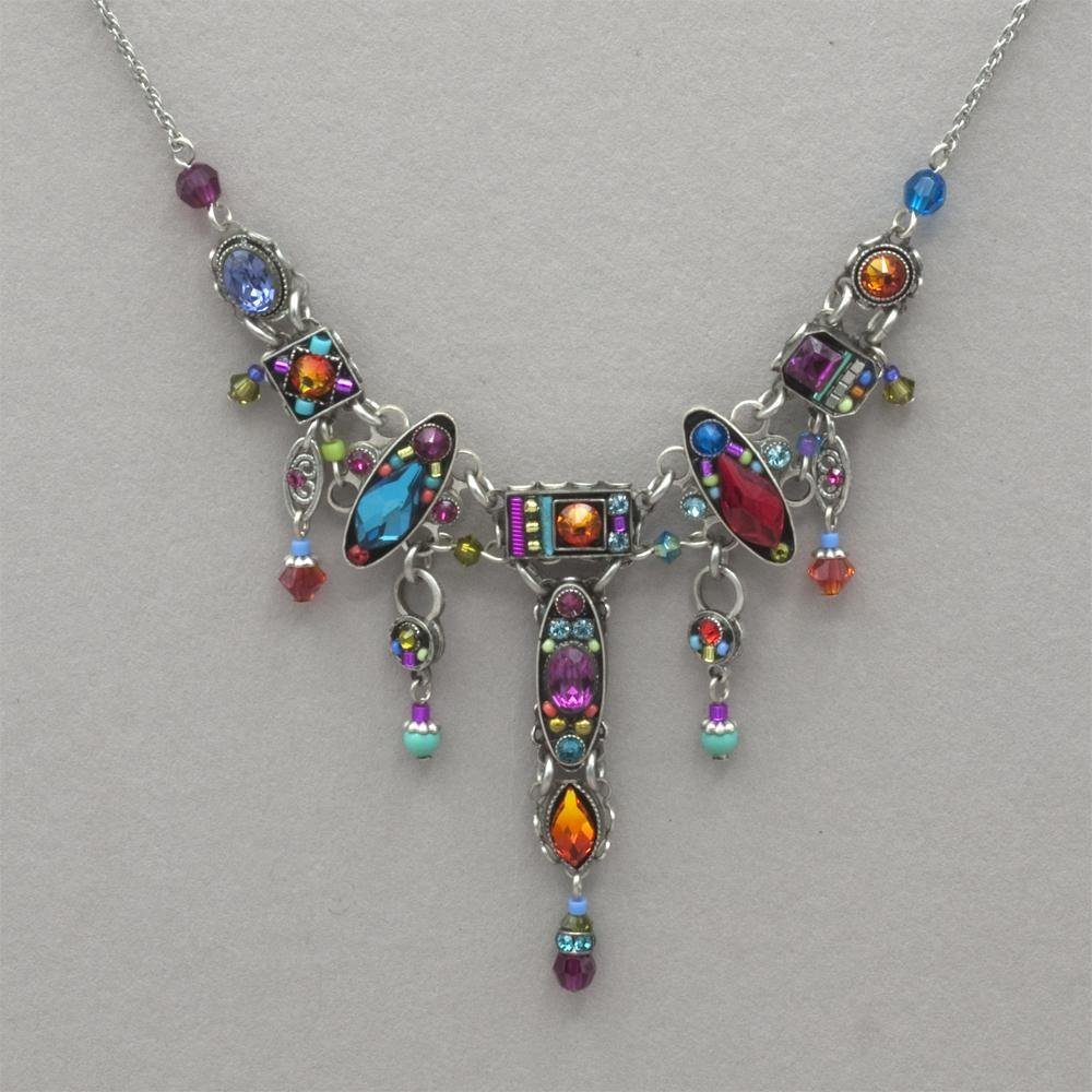 Firefly Multicolored Cross Necklace 0588