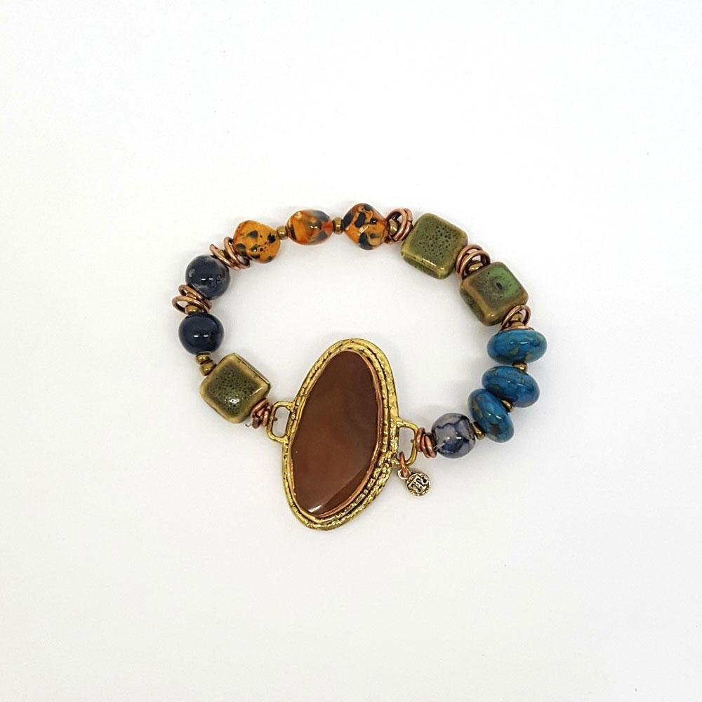 Treska Agate Center Stretch Bracelet 0057