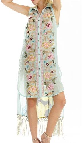 Aqua Washed Irishes Embroidery Dress