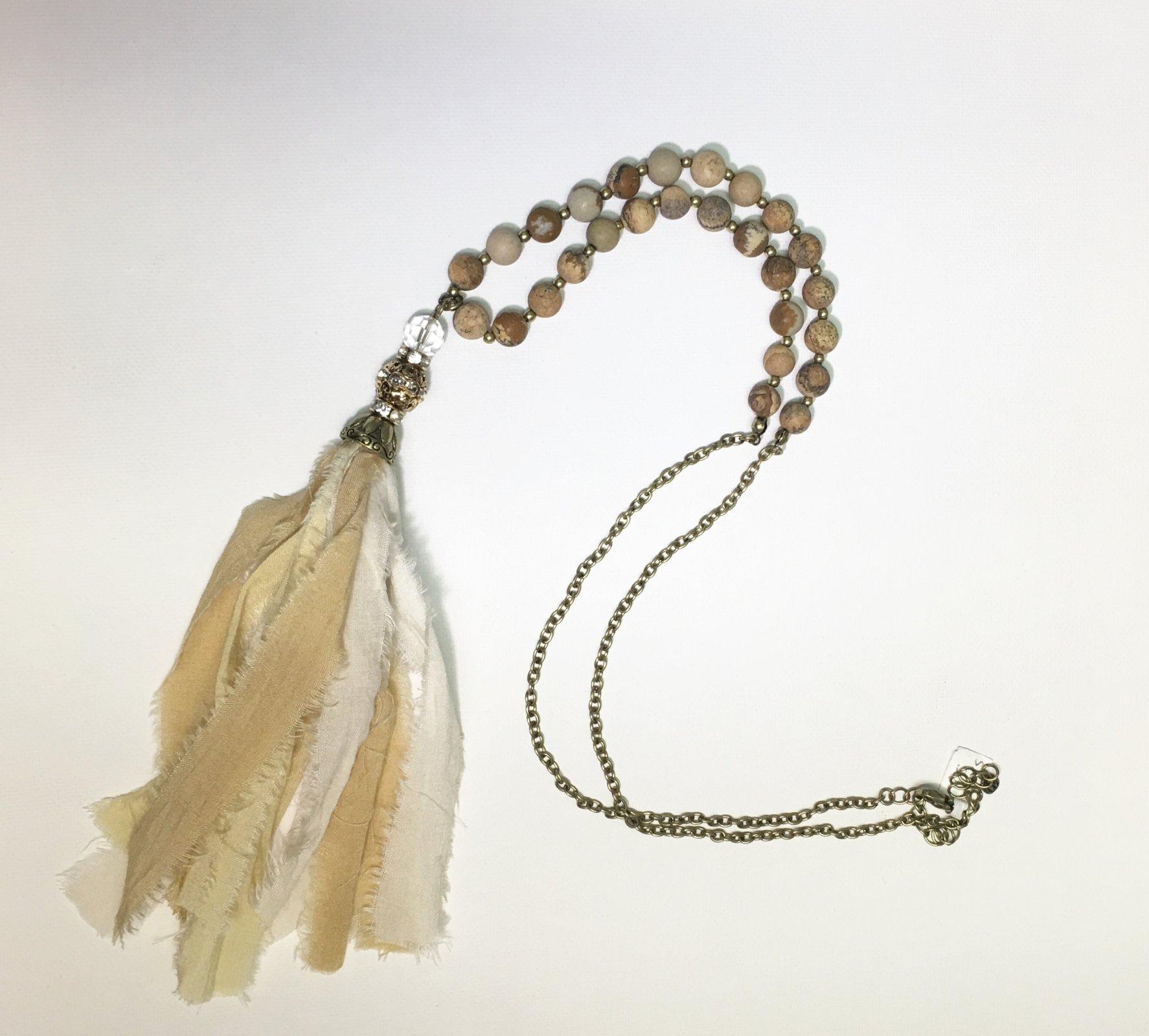 Beige Tassel with Beige Beads 0036
