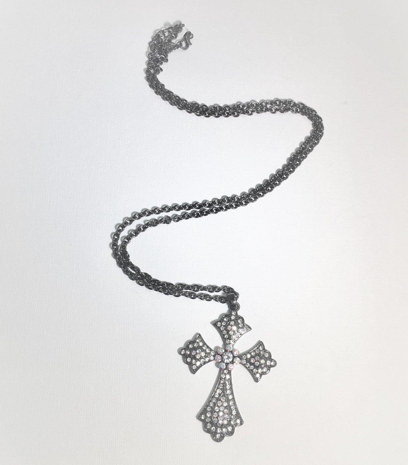 Black Chain Rhinestone Cross Necklace 0019