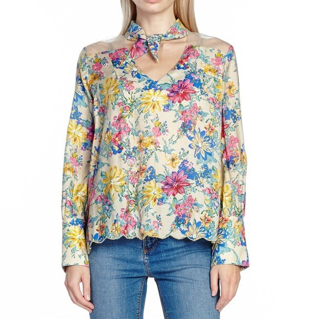 Aratta Floral Beige Dream Worthy Blouse