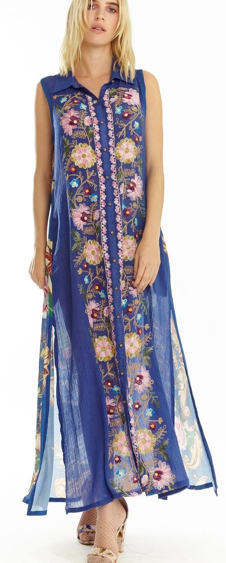 Aratta Adonis Blue Embroidery Maxi Dress With Pockets