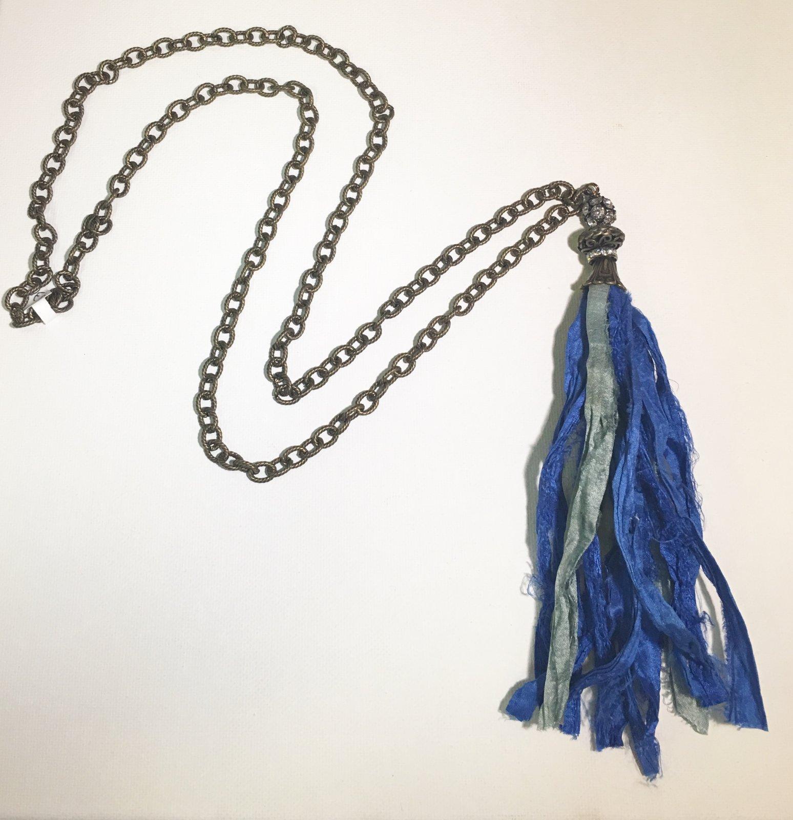 Blue Tassel on Bronze Chain 0023