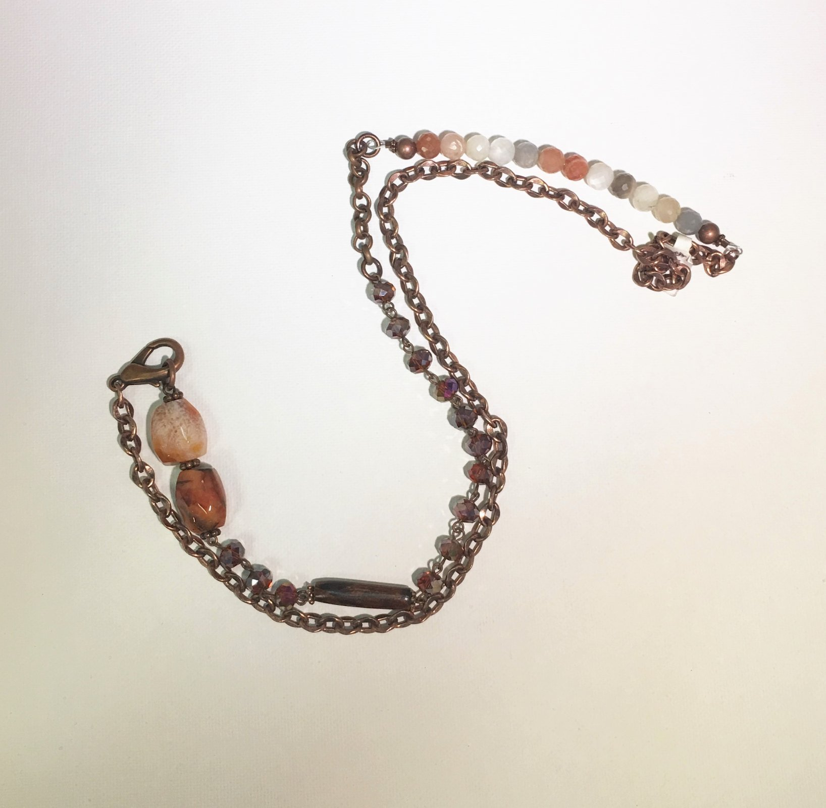 Bronze Chain with Multi-color Beads