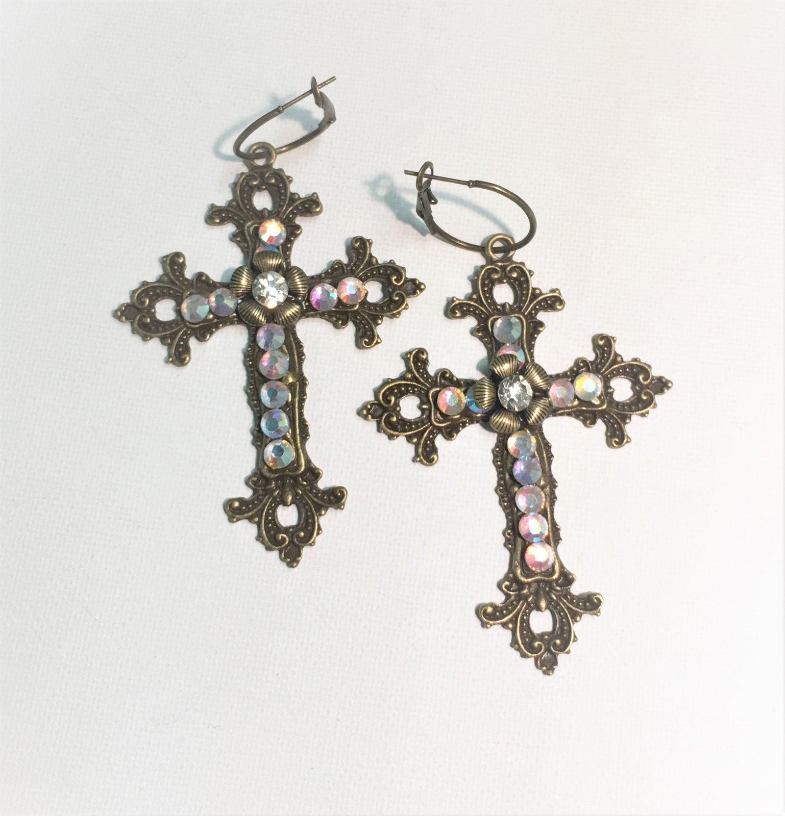Bronze Cross Rhinestone Earrings 0013
