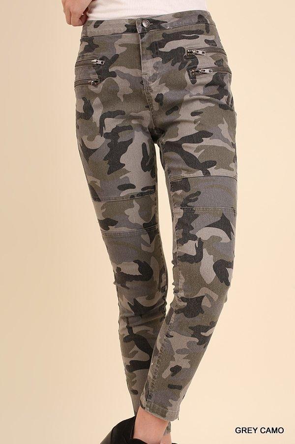 Umgee Grey Camo Pants with Zipper Details