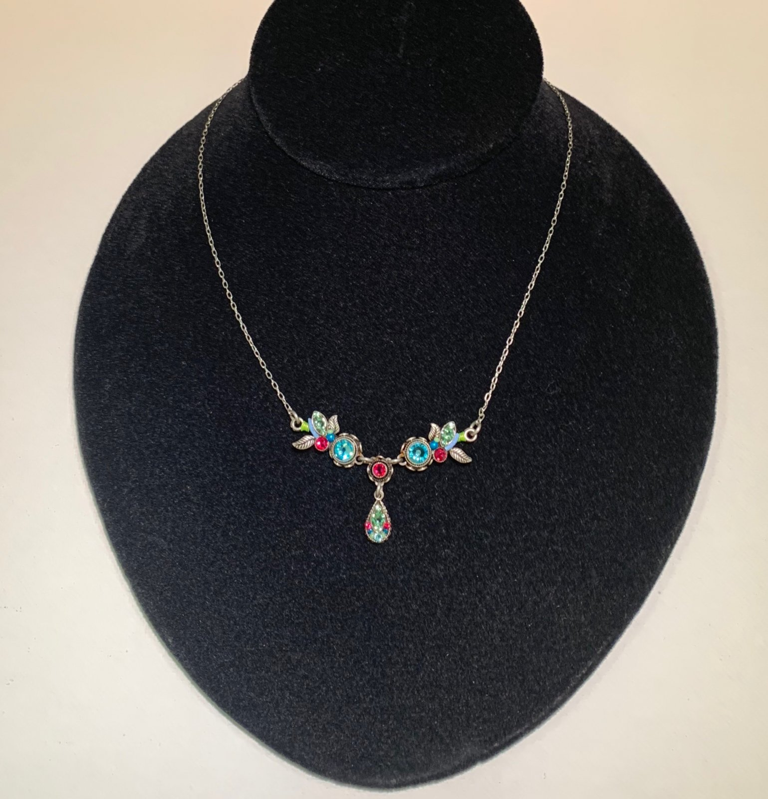 Firefly Pink and Blue Vine Necklace 0007
