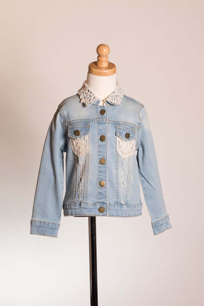 M.L. Kids Light Denim Jacket With Lace Maddi
