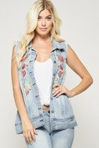 Andree Denim Embroidered Flower Vest Sydney