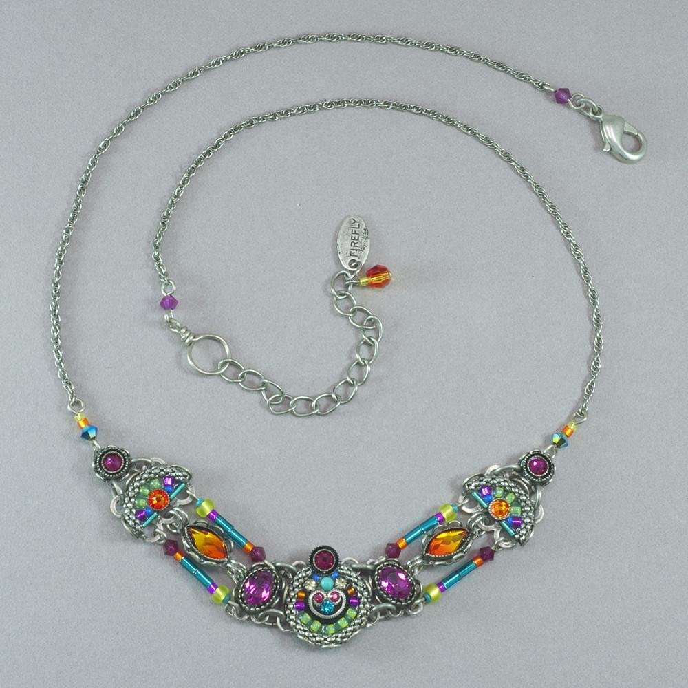Firefly Orange and Pink Stone Necklace 0061