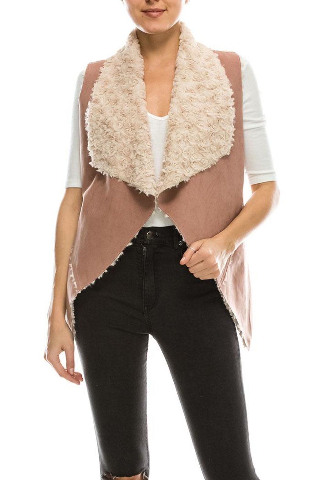Camel Colored Suede Like Fur Lined Vest Lariat
