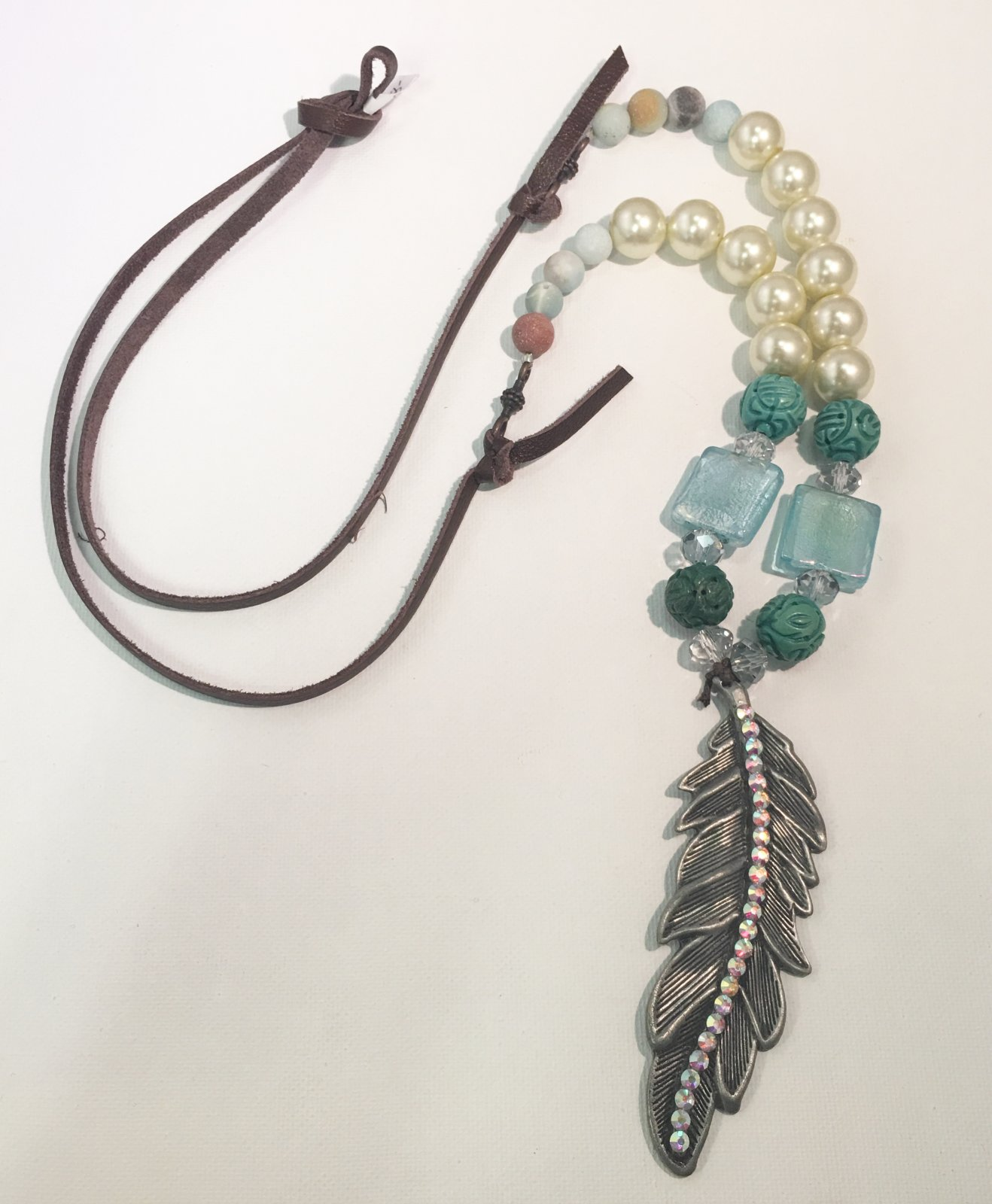 Feather Long Necklace With Leather Strap and Aqua Beads