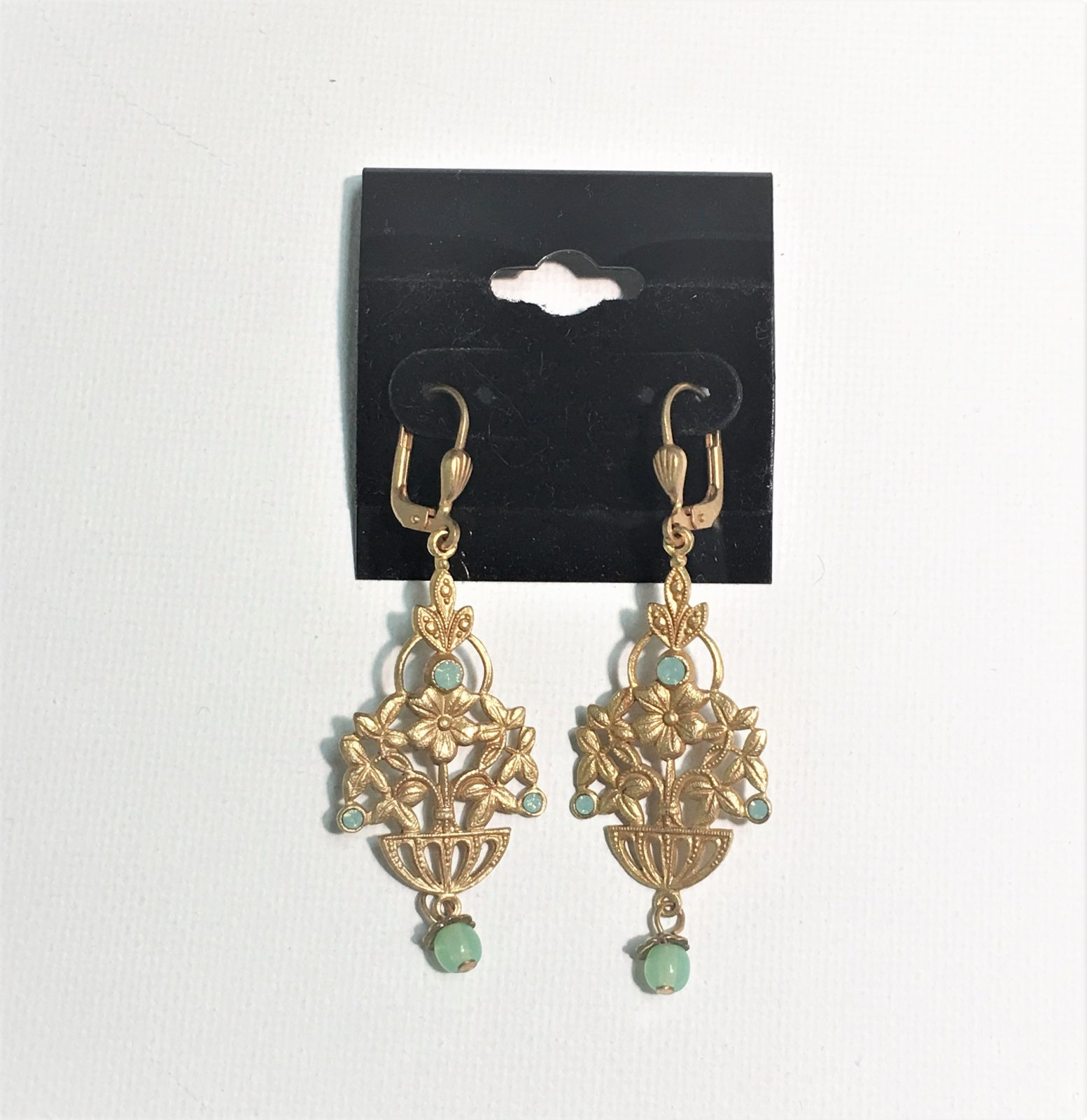 Floral Gold Earrings with Blue Accent