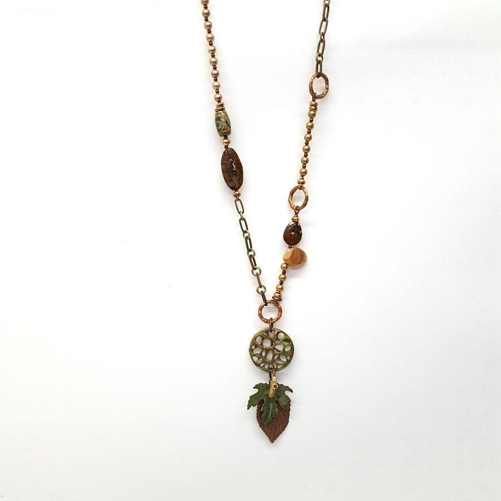 Forest Bead and Chain Pendant Necklace