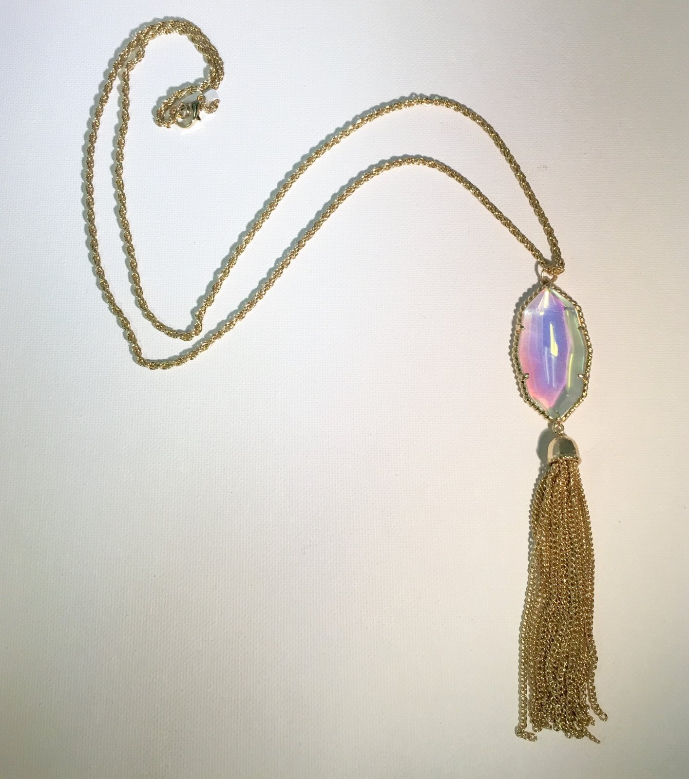 Gold Chain Tassel with Clear Stone