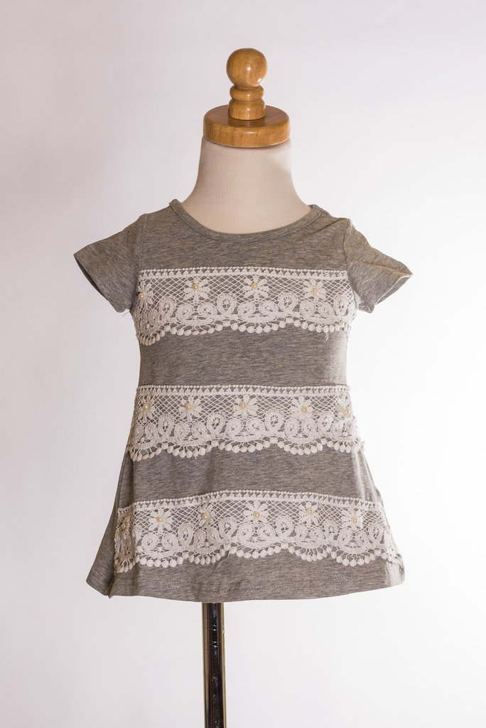 M.L. Kids Grey Top with Lace Piper