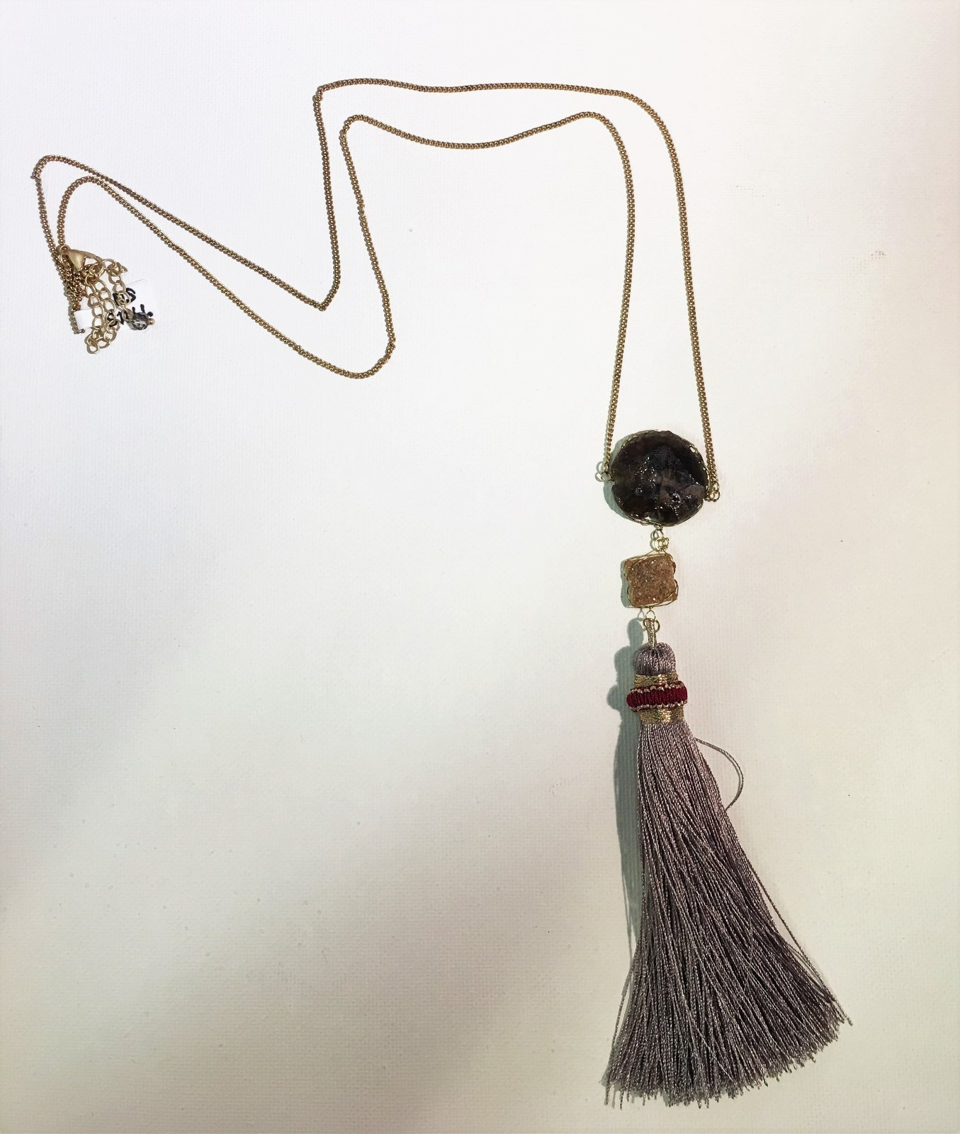 Grey Tassel Necklace with Beads 0027