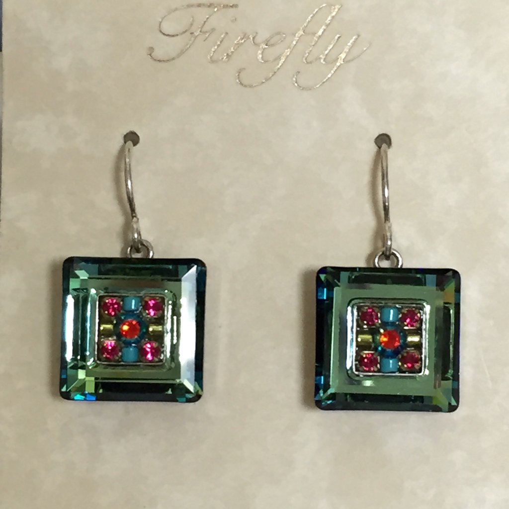 Firefly Blue and Green Square Earrings 0589