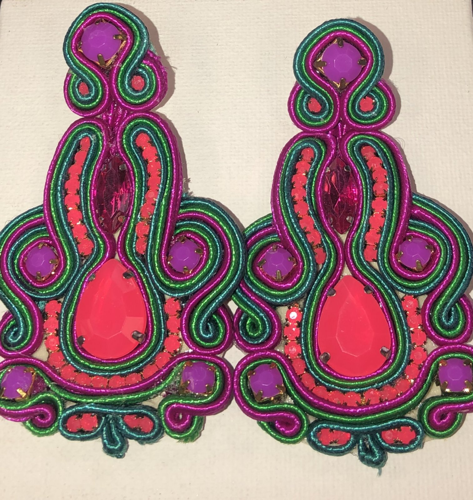 Pink, Green, and Purple Fabric Earring 0464
