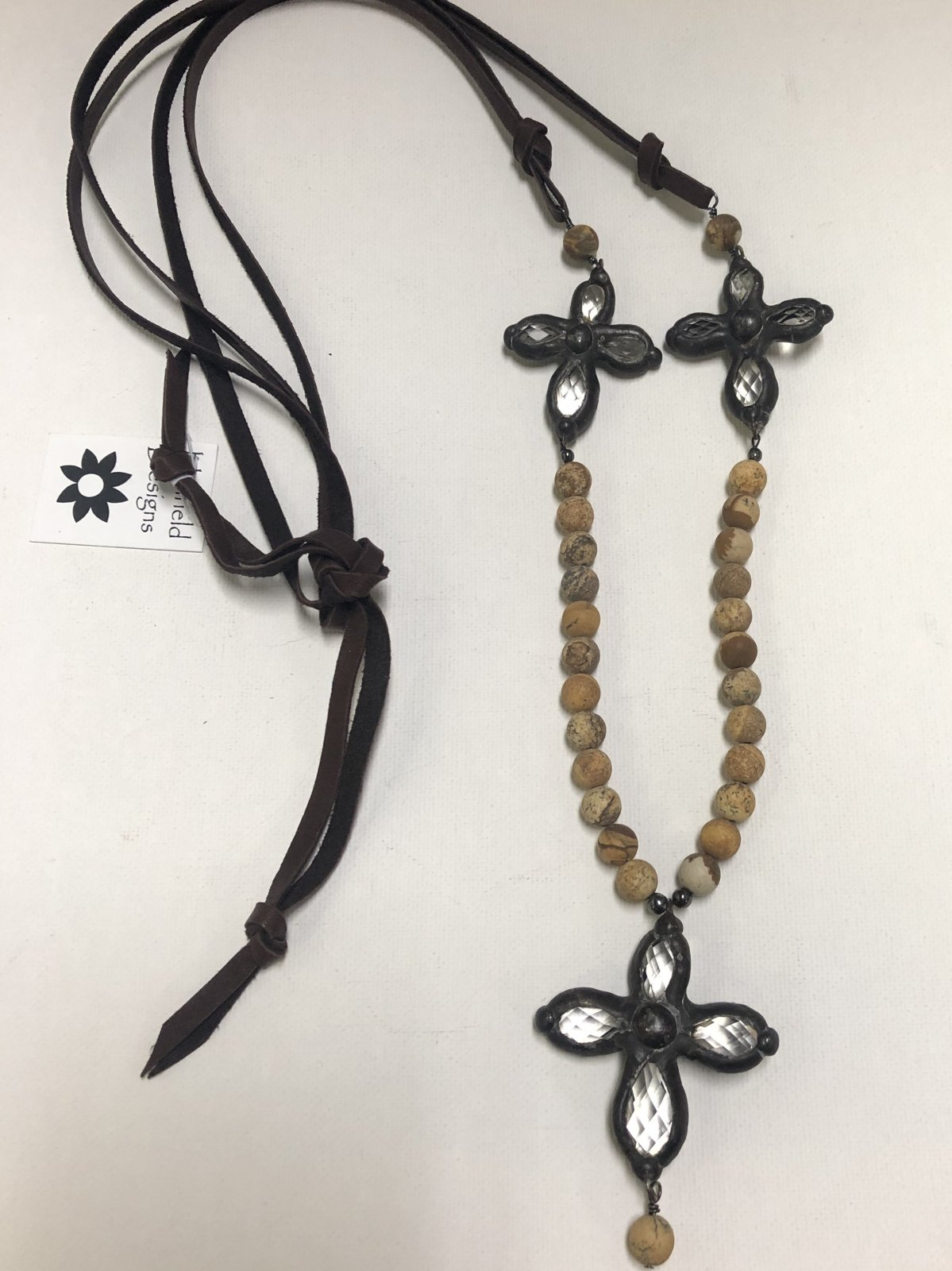 Leather and Neutral Bead Necklace with Cross 0566