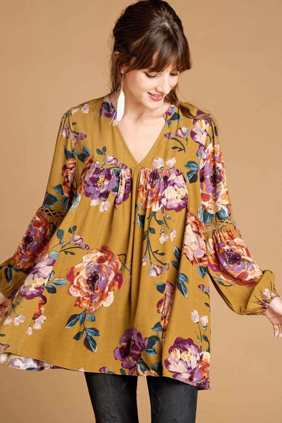 Jennie-Floral V-Neck Swing Tunic With Long Bishop Sleeves