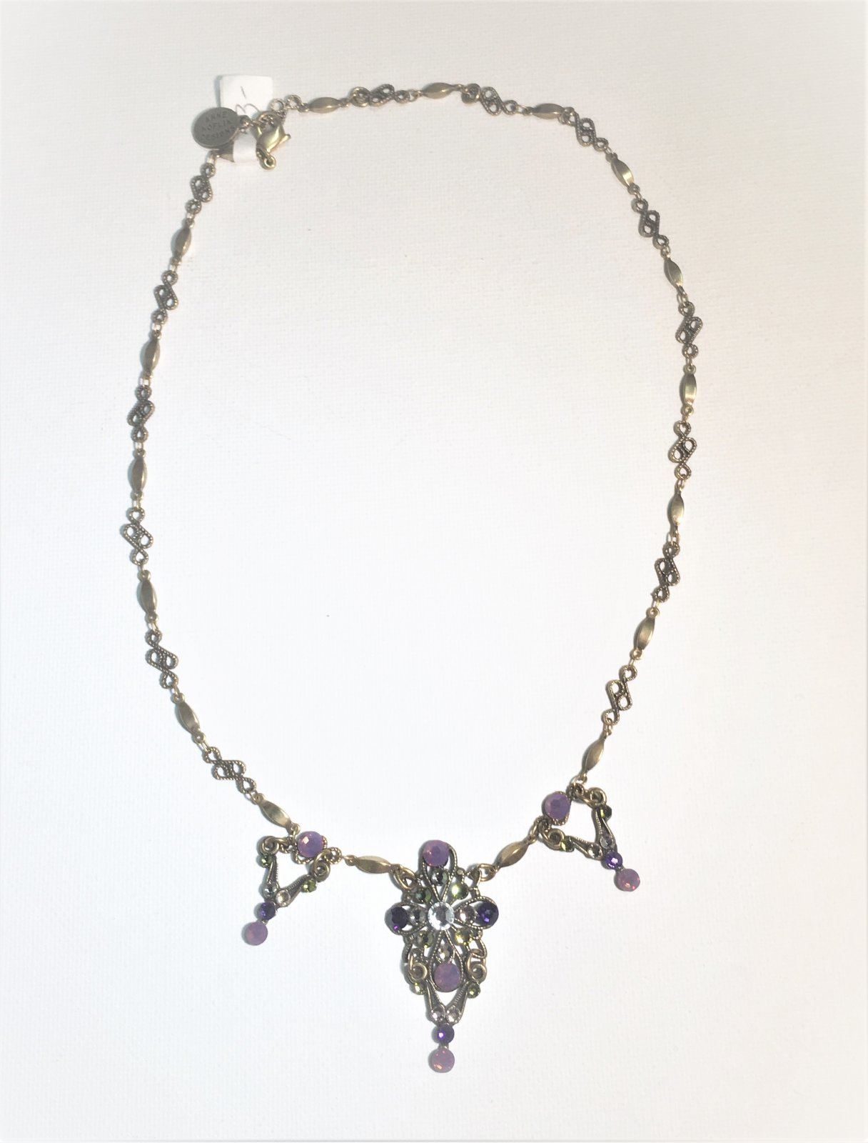 Purple Stones Bronze Necklace 0014