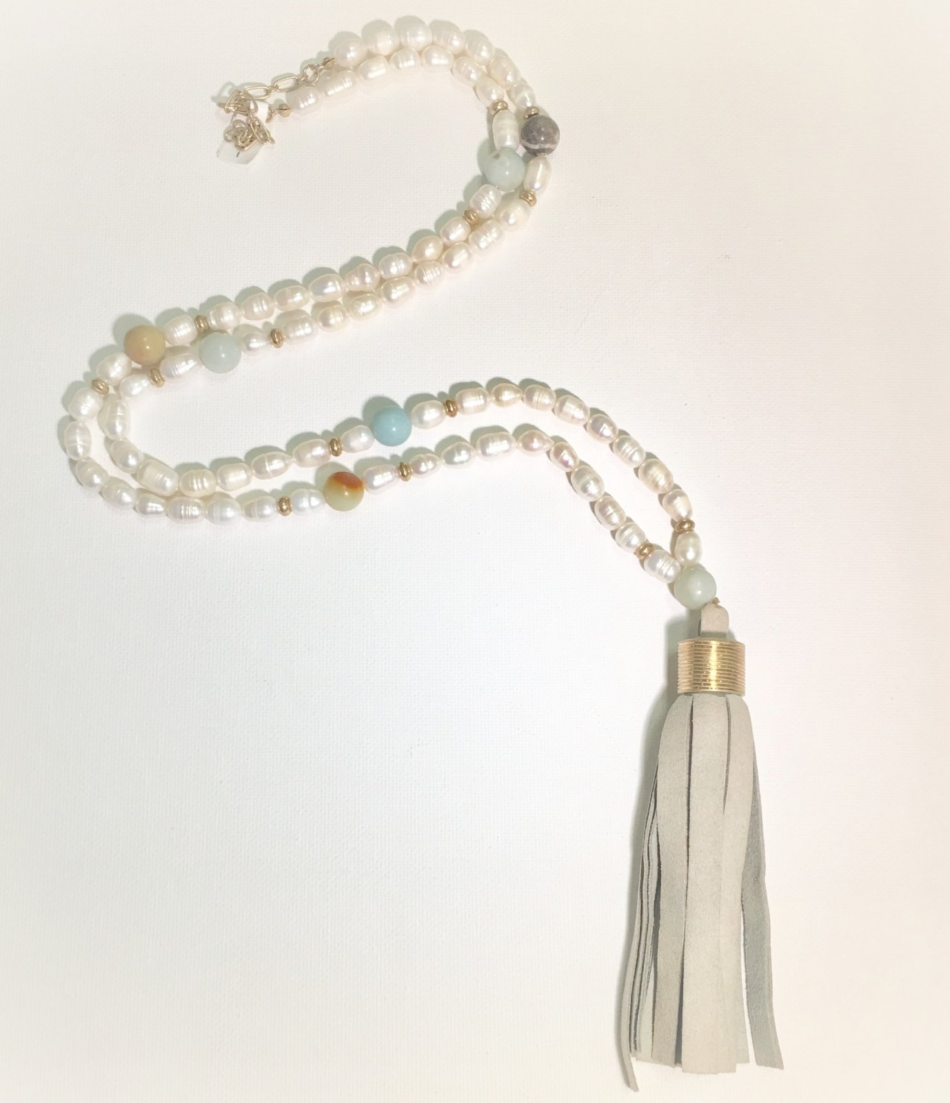 Leather Grey Tassel with Pearl Beads 0018
