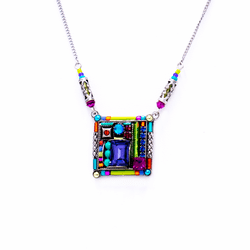Firefly Green and Purple Square Necklace 0585