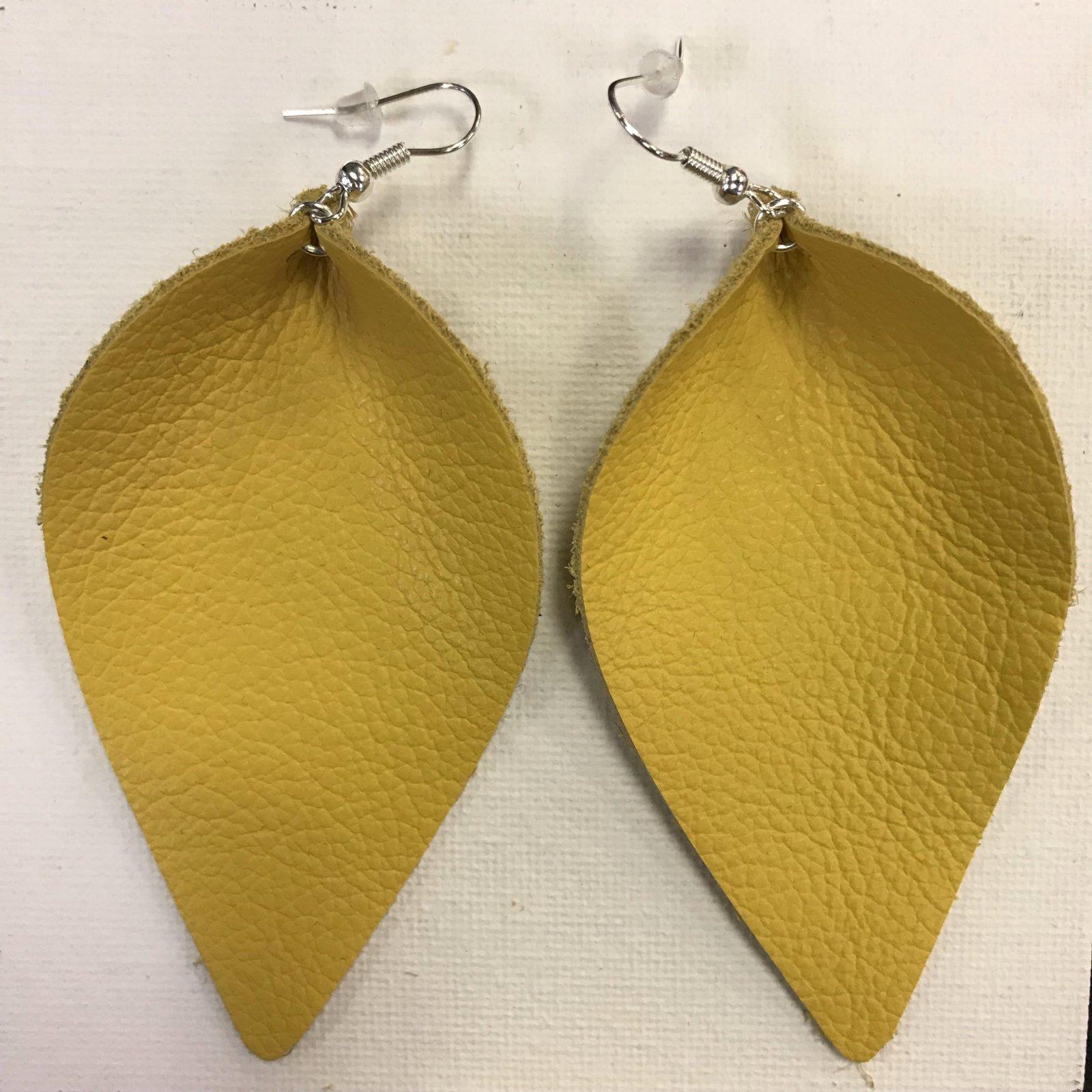 Leather Pleated Leaf Earrings 0465