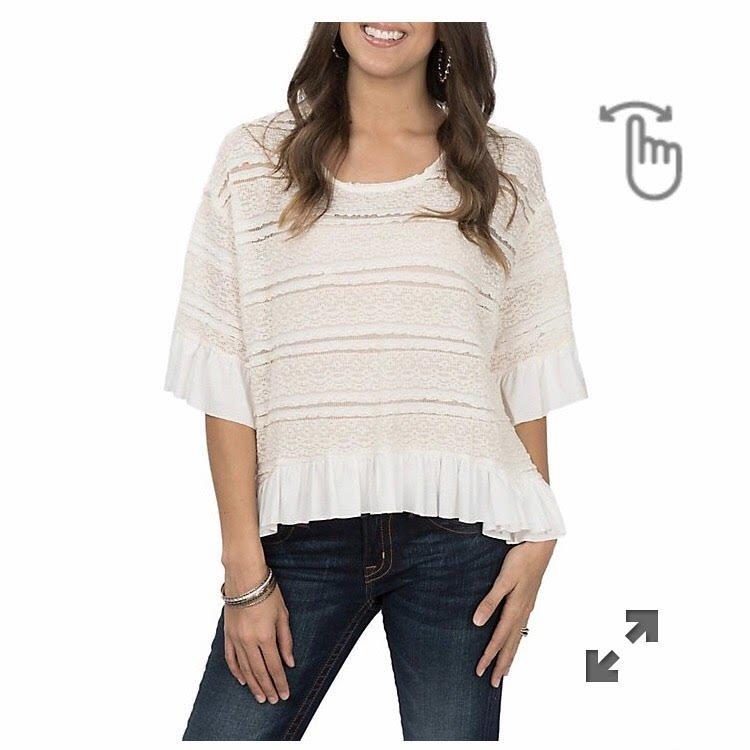 Umgee Crochet Bell Sleeve High Low Top Sherry