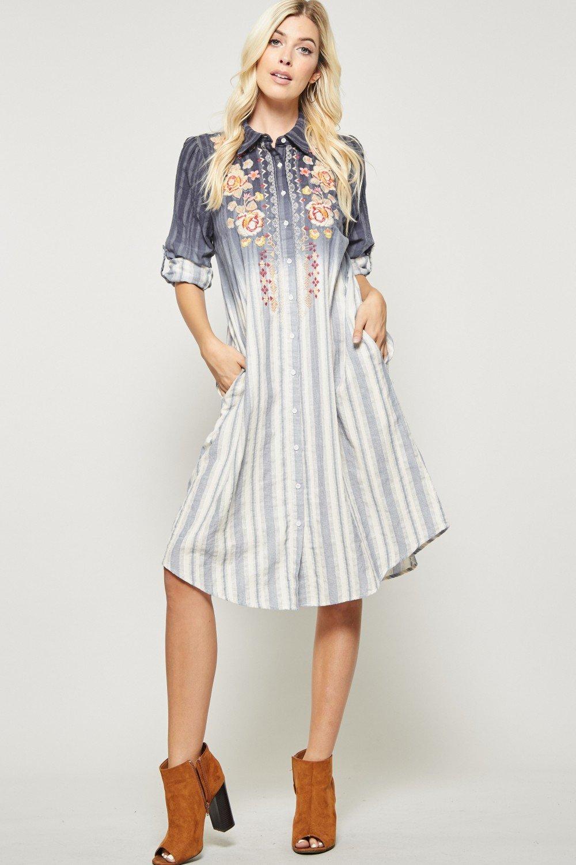 Andree Navy Flower Striped Dress Mindy