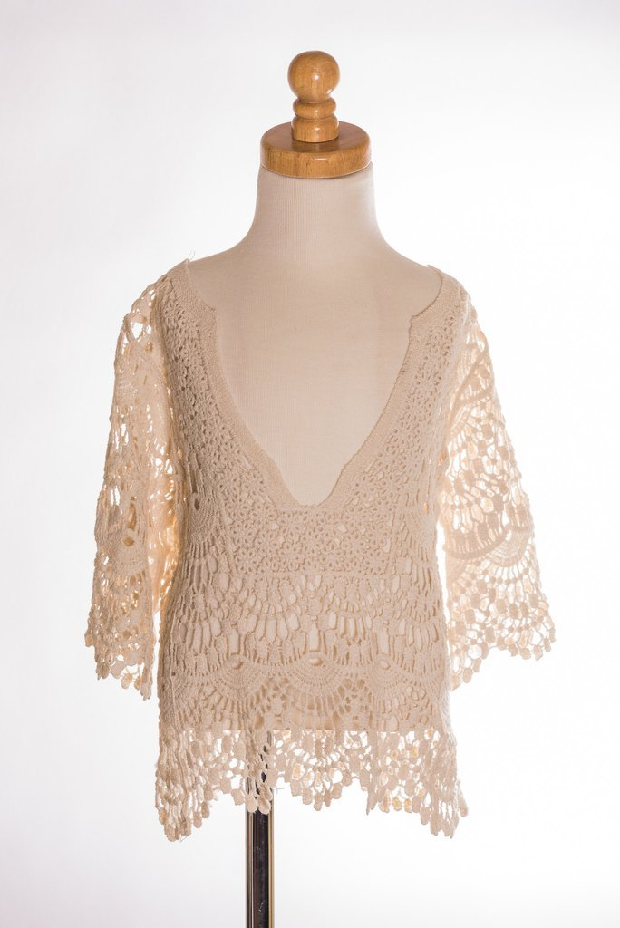 Charlie-Off White Crochet Sleeve Top