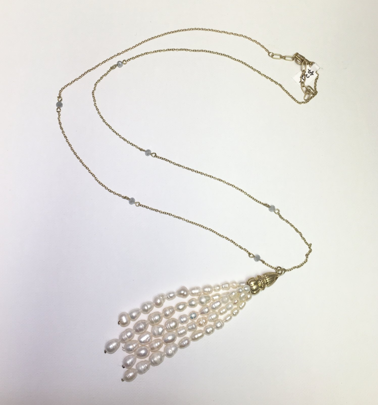 Pearl Tassel on Gold Chain 0034