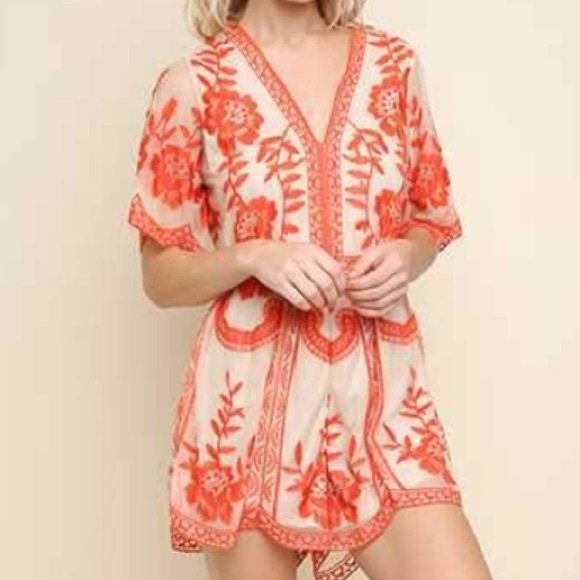 Umgee Coral Lace Romper Lexi