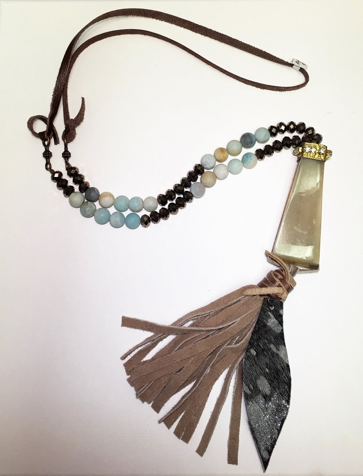 Brown Tassel Necklace with Rectangle Piece 0035