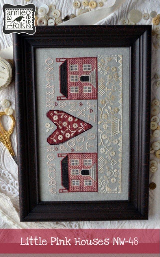 Annie Beez Folk Art - Litte Pink Houses