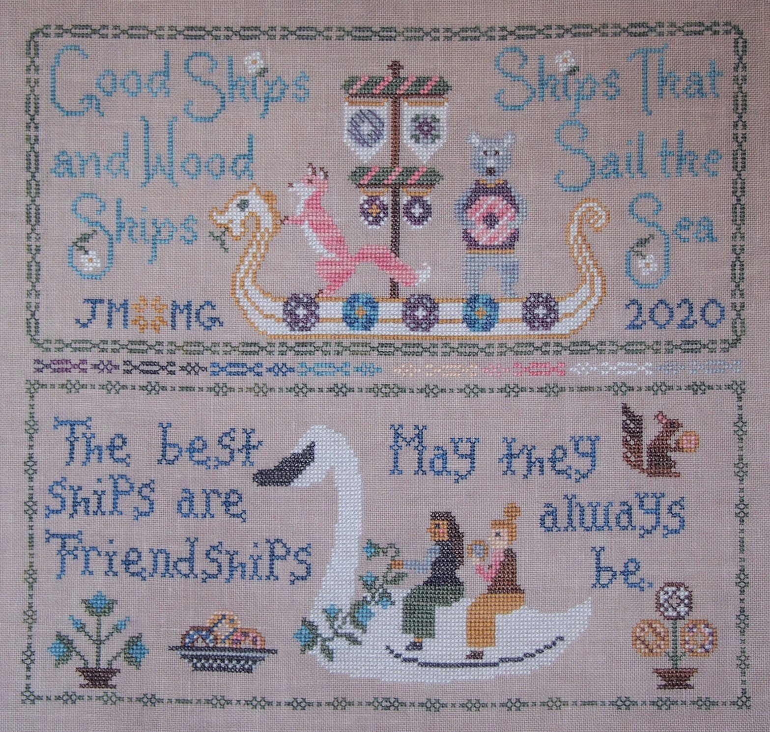 Blue Flower - Friendship Sampler