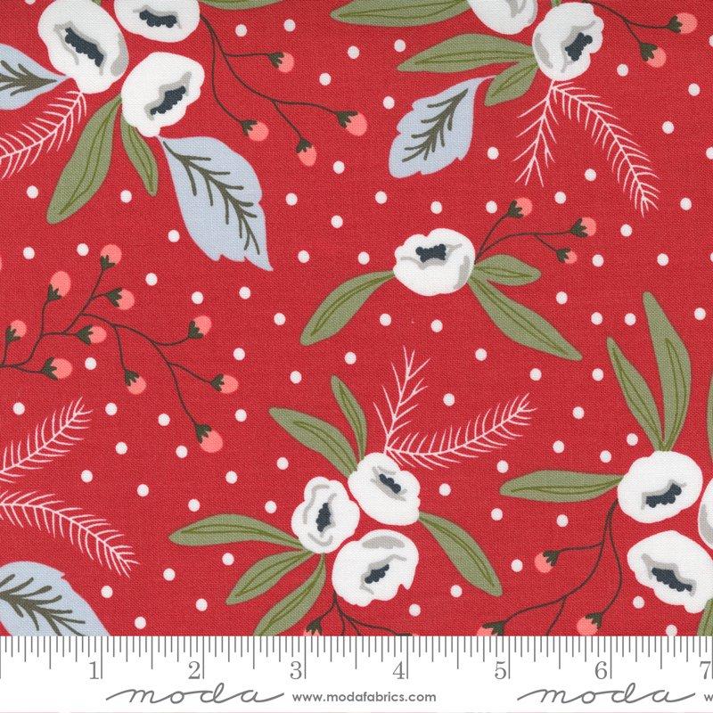 Moda - Snow blossoms cranberry