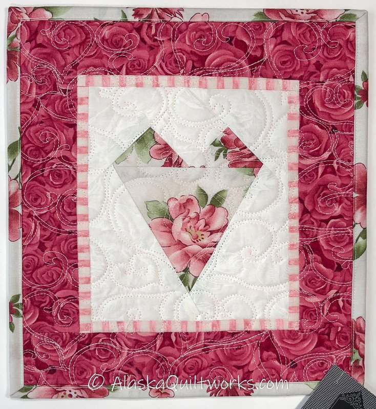 _Quilted Heart Wall Hanging - Dark Pink