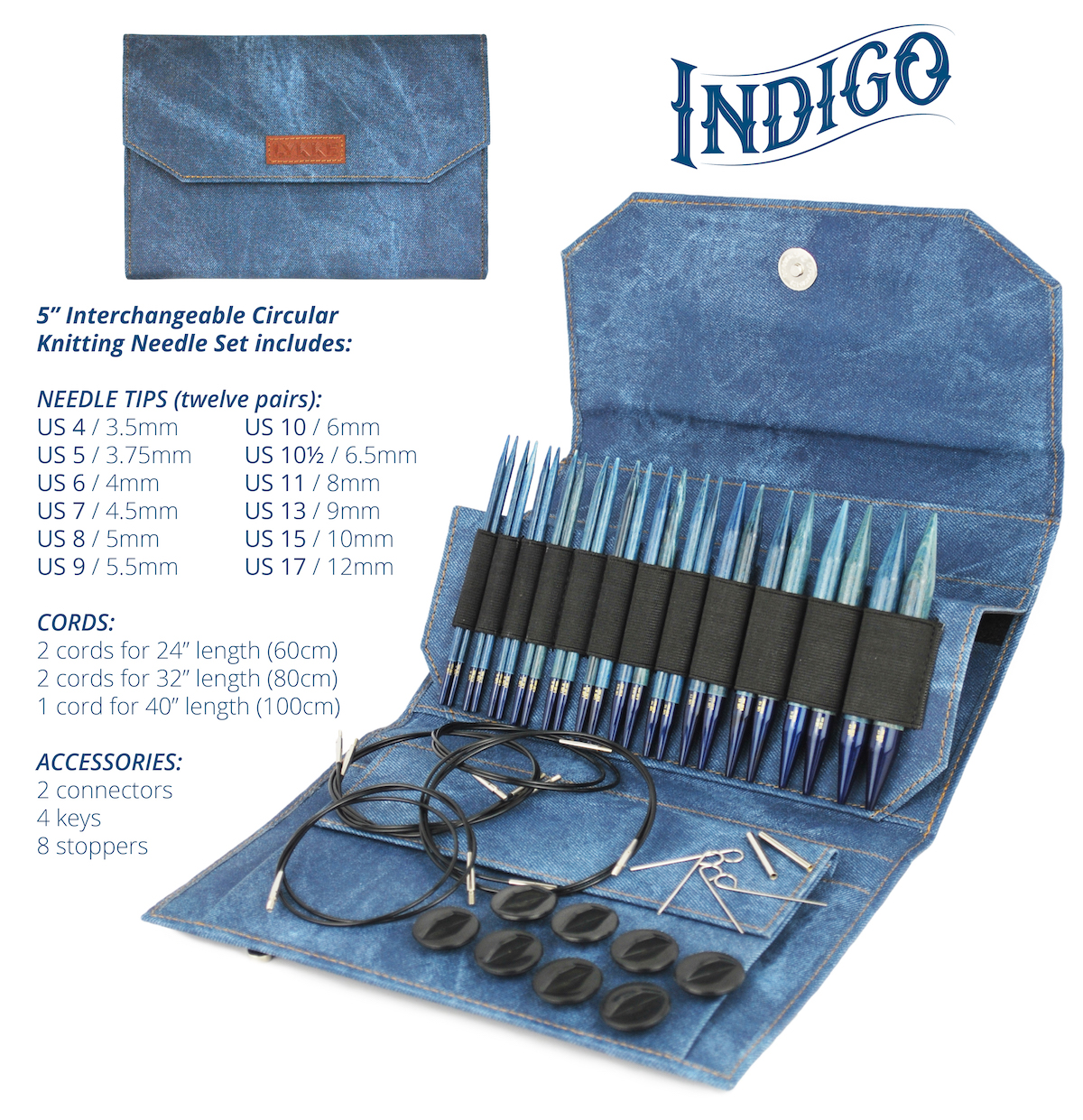 Indigo Interchangeable Circular Kitting Needle Set - 5 Inch Needles