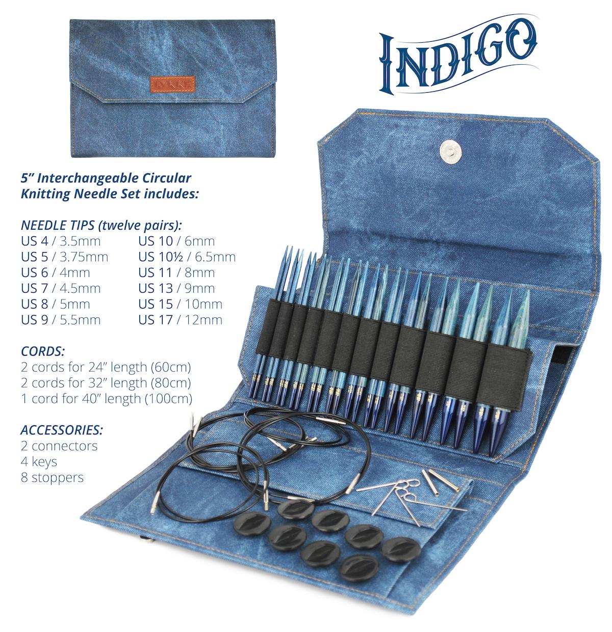 Indigo 5 Interchangeable Circular Needle Set