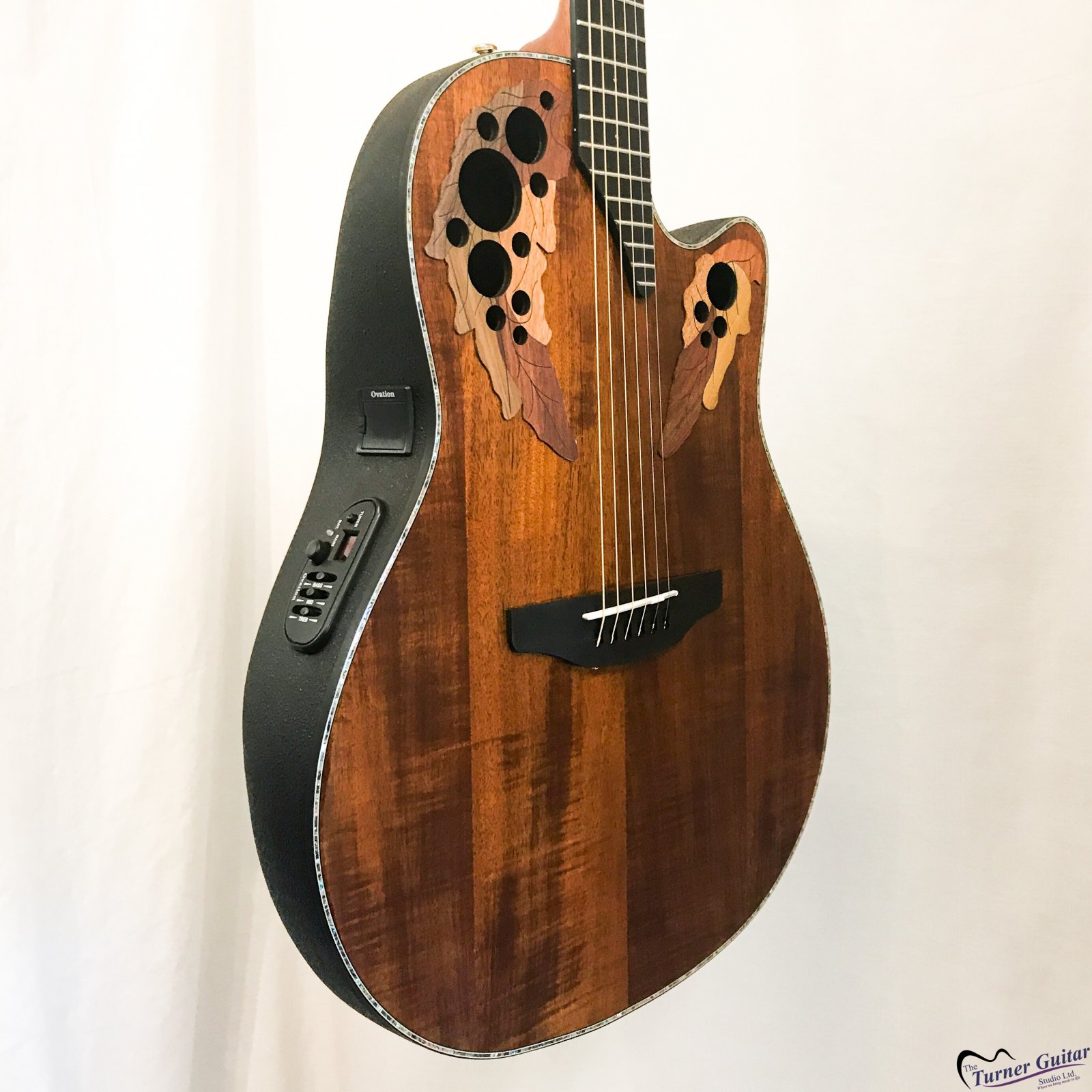 Ovation Celebrity Elite Plus Mid-Depth Cutaway Acoustic - Figured Koa Finish