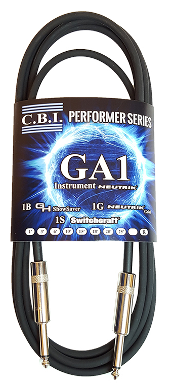C.B.I. Standard GA1 1/4 Neutrik End Instrument Cables - 1 Foot