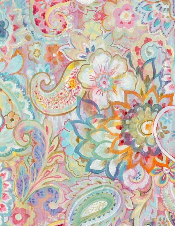 Wild Blush - Floral Paisley - Pink/Gold