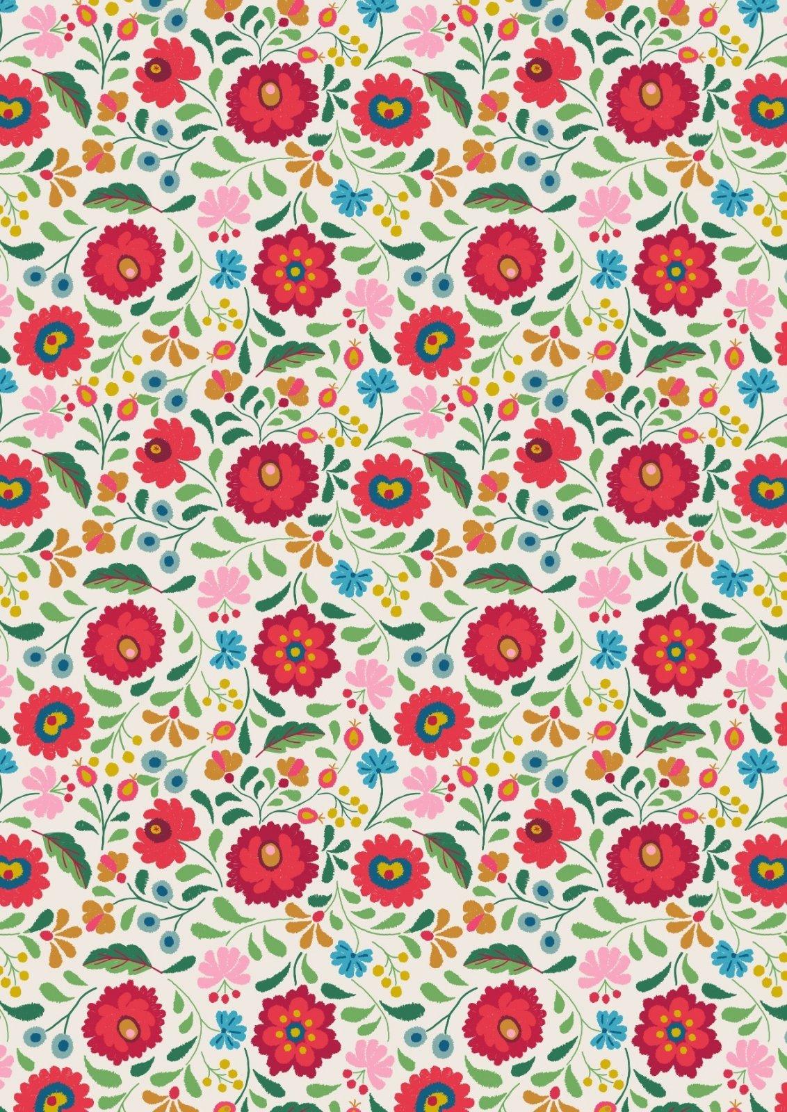 Maya - Folksy Flowers on White