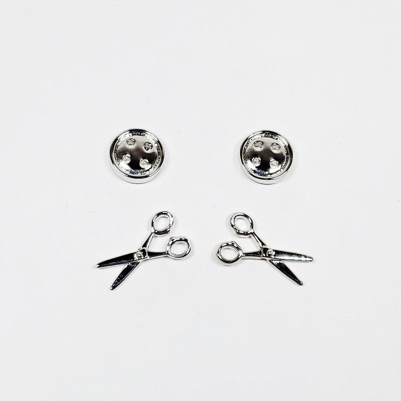 Button/Scissor Earrings - Silver